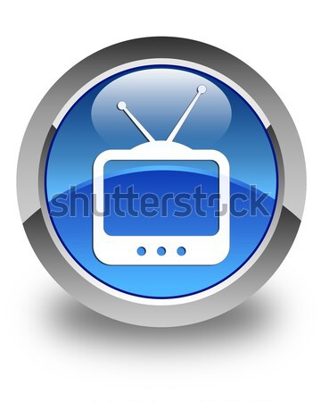 TV icon glossy blue button Stock photo © faysalfarhan