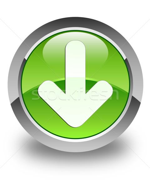 Icône de téléchargement vert bouton blanche flèche Photo stock © faysalfarhan