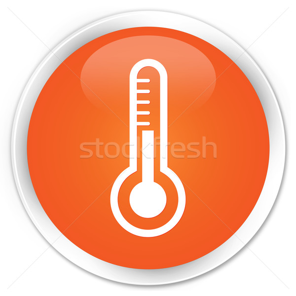 Zdjęcia stock: Termometr · ikona · pomarańczowy · przycisk · medycznych · internetowych