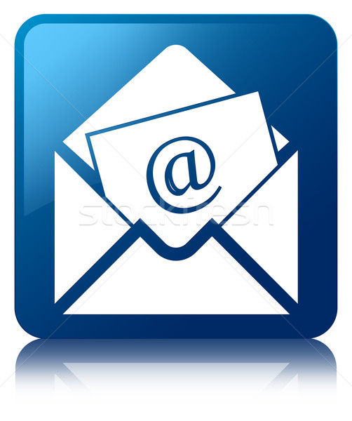 Newsletter email icon glossy blue reflected square button Stock photo © faysalfarhan