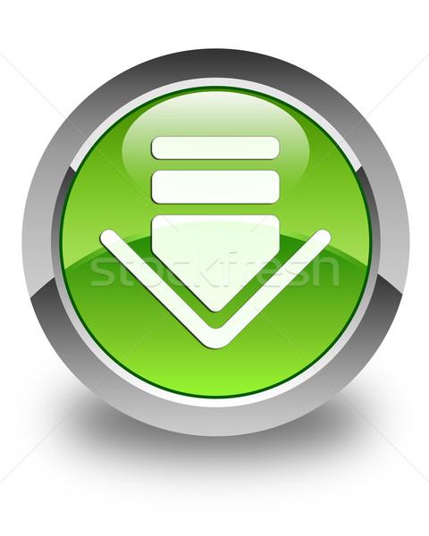 Simgesi indir parlak yeşil düğme beyaz ok Stok fotoğraf © faysalfarhan