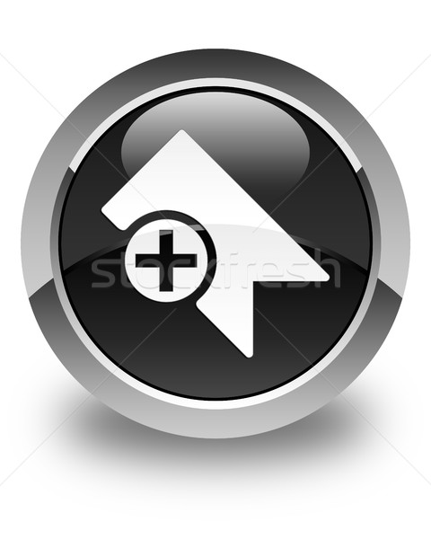 Bookmark icon glossy black round button Stock photo © faysalfarhan