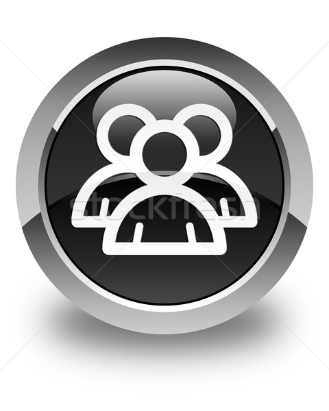 Group icon glossy black round button Stock photo © faysalfarhan