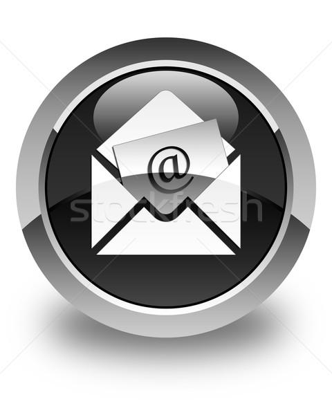 Bülteni e-mail ikon parlak siyah düğme Stok fotoğraf © faysalfarhan