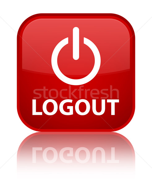 Logout (power off icon) glossy red reflected square button Stock photo © faysalfarhan