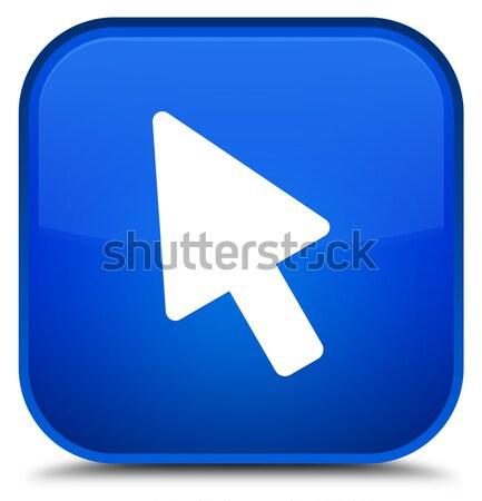 Zdjęcia stock: Kursor · ikona · niebieski · przycisk · podpisania