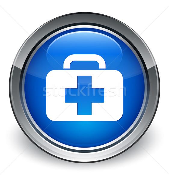 Medical bag (first aid kit) icon glossy blue button Stock photo © faysalfarhan
