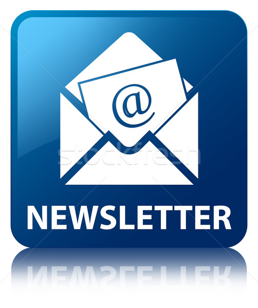Newsletter (Email icon) glossy blue reflected square button Stock photo © faysalfarhan