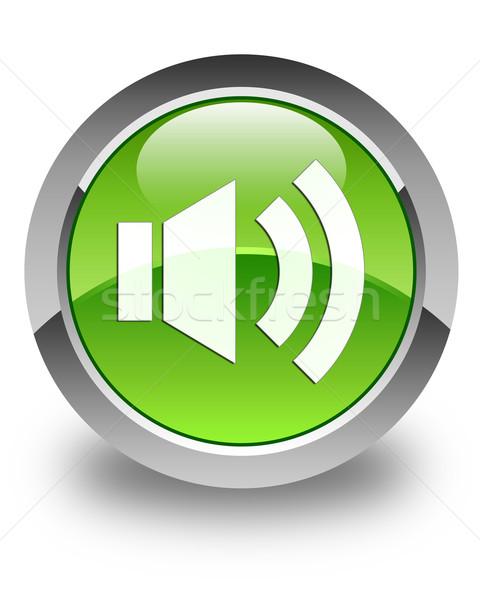 Volume icon glossy green round button Stock photo © faysalfarhan