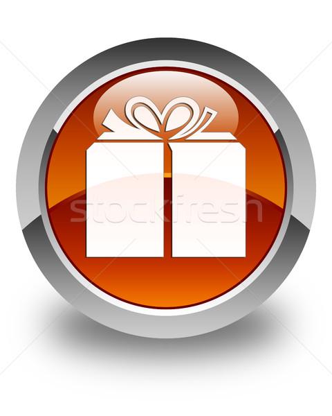 Gift box icon glossy brown round button Stock photo © faysalfarhan