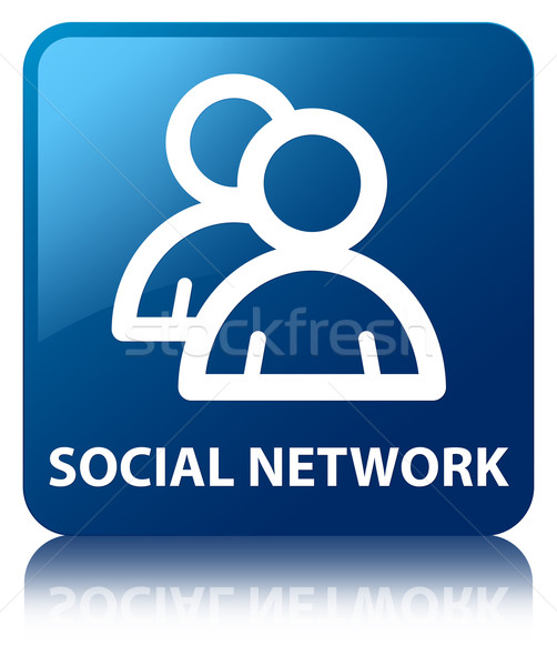 Social network (group icon) glossy blue reflected square button Stock photo © faysalfarhan