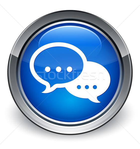 Comentar falar bolha ícone azul Foto stock © faysalfarhan