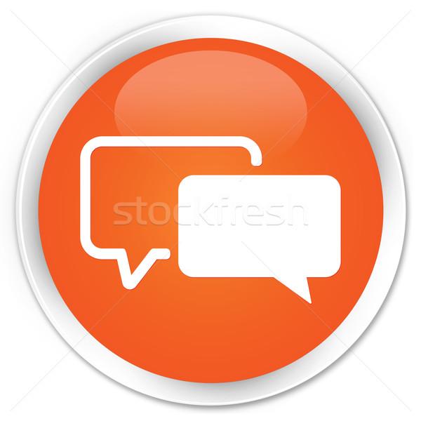 Zdjęcia stock: Ikona · pomarańczowy · przycisk · Internetu · dyskusja · biały