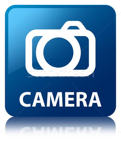 Stok fotoğraf: Kamera · parlak · mavi · kare · düğme · dijital