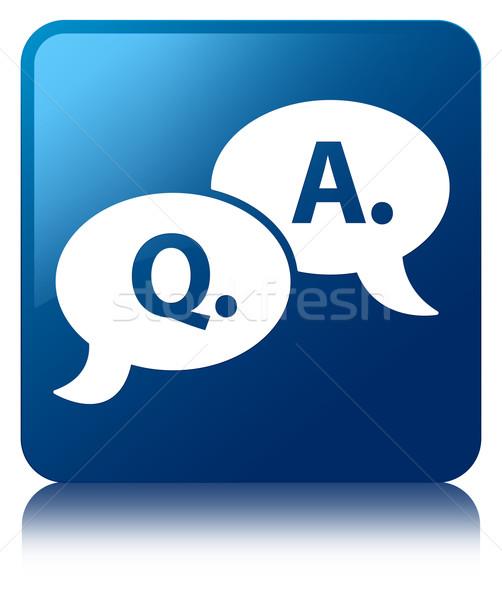 Pergunta responder bolha ícone azul Foto stock © faysalfarhan