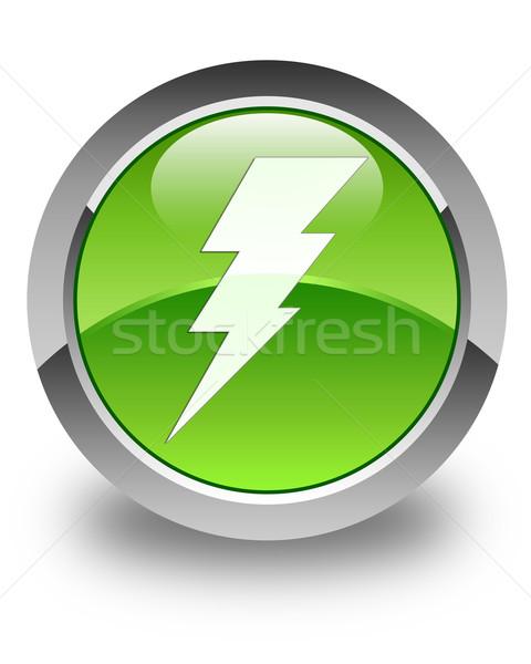 Electricity icon glossy green round button Stock photo © faysalfarhan