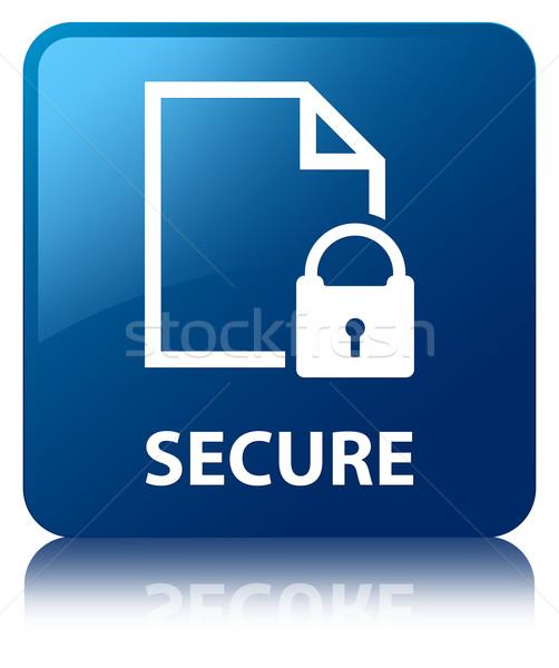Beveiligde document glanzend Blauw vierkante knop Stockfoto © faysalfarhan