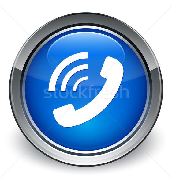 Phone ringing icon glossy blue button Stock photo © faysalfarhan