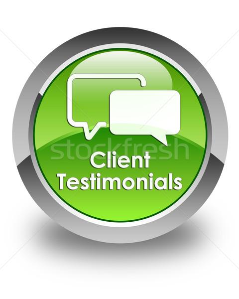 Client testimonials glossy green round button Stock photo © faysalfarhan