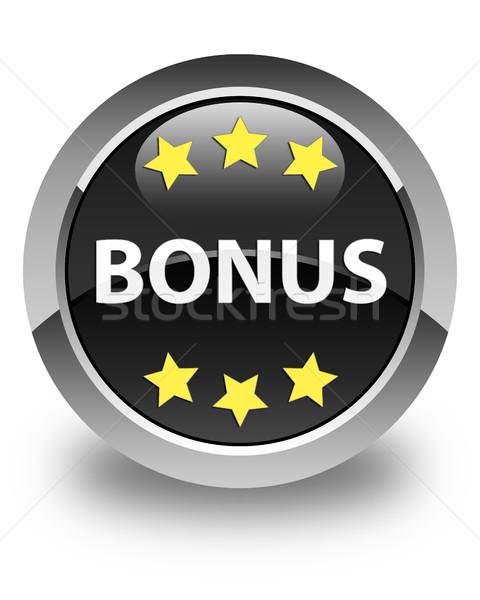 Bonus Yıldız ikon parlak siyah düğme Stok fotoğraf © faysalfarhan