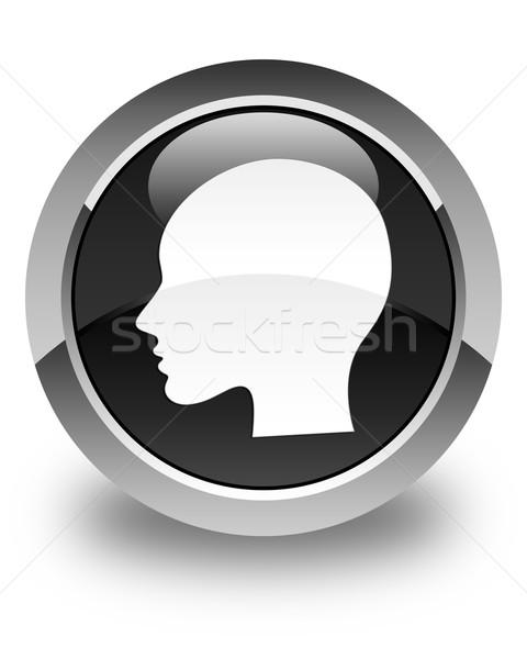 Head (woman face) icon glossy black round button Stock photo © faysalfarhan