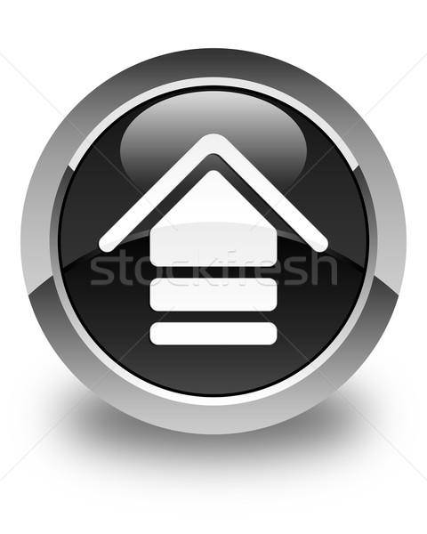 Upload icon glossy black round button Stock photo © faysalfarhan