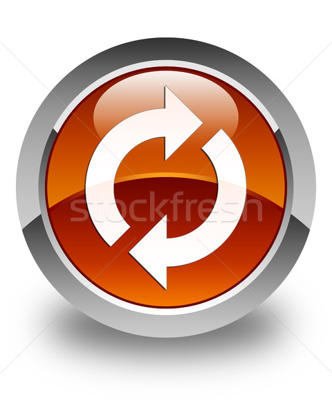 Mettre à jour icône brun bouton signe Photo stock © faysalfarhan