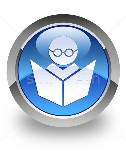 Online oktatás fényes ikon kék könyv internet Stock fotó © faysalfarhan