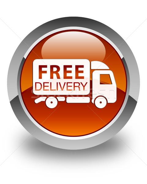 Livraison gratuite camion icône brun bouton Photo stock © faysalfarhan