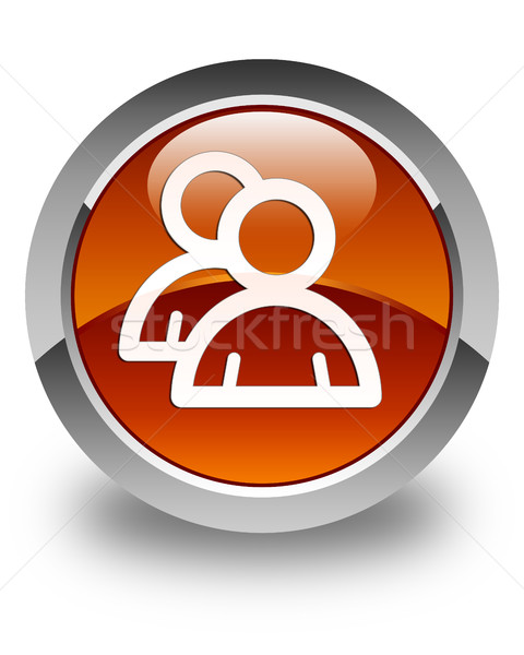 Group icon glossy brown round button Stock photo © faysalfarhan