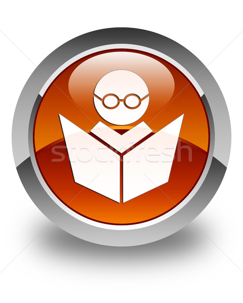 Elearning icon glossy brown round button Stock photo © faysalfarhan