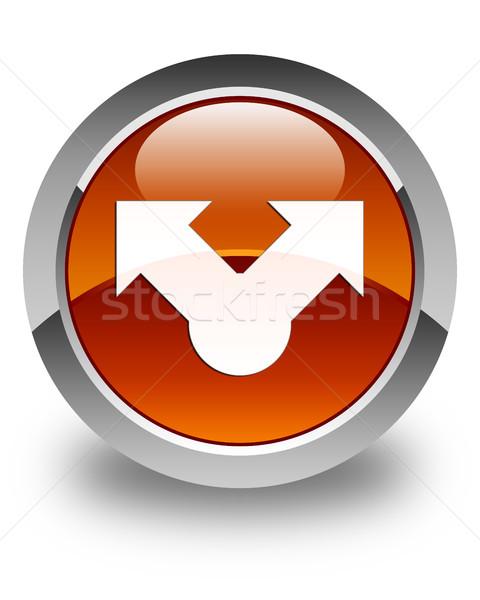 Ikona brązowy przycisk technologii podpisania Zdjęcia stock © faysalfarhan