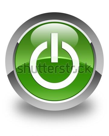 Power icon glossy green round button Stock photo © faysalfarhan