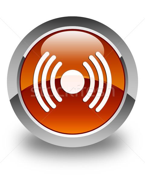 Netwerk signaal icon glanzend bruin knop Stockfoto © faysalfarhan
