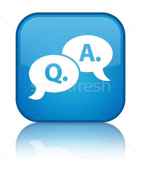 Stock foto: Frage · Symbol · glänzend · blau · Platz