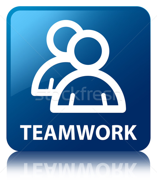 Teamwork (group icon) glossy blue reflected square button Stock photo © faysalfarhan