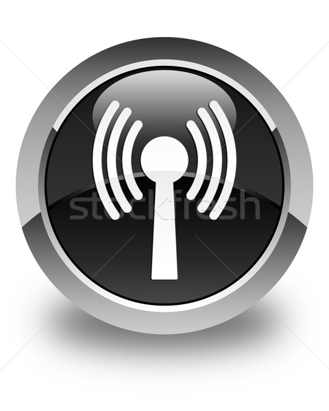 Wlan network icon glossy black round button Stock photo © faysalfarhan