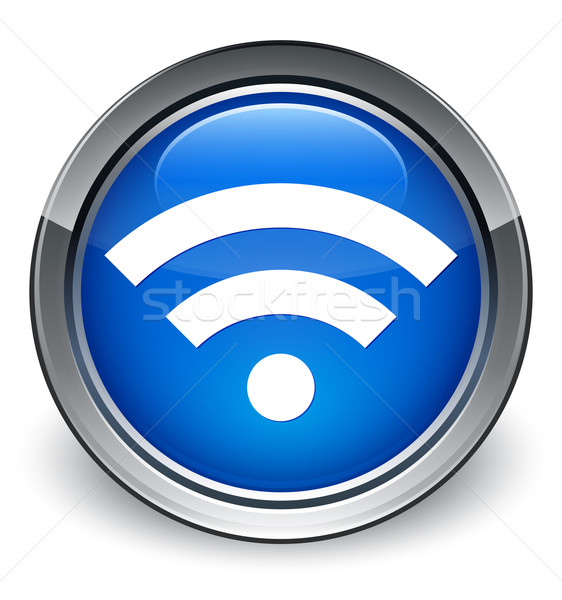 Wifi icon glossy blue button Stock photo © faysalfarhan