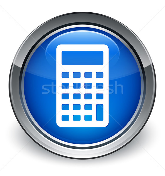 Calculator icon glanzend Blauw knop business Stockfoto © faysalfarhan