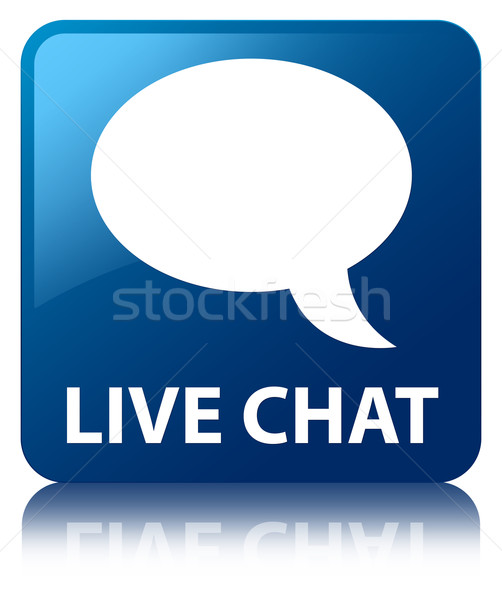 Live chat (talk bubble icon) glossy blue reflected square
