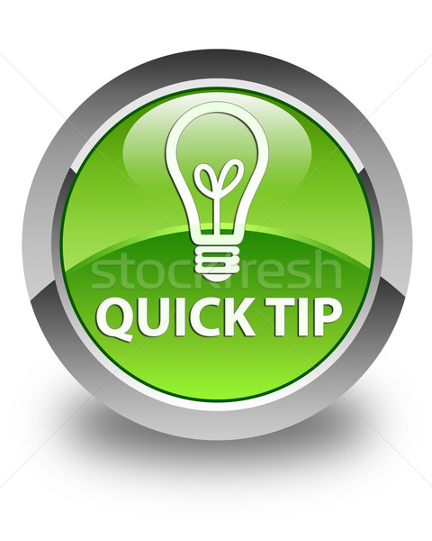 Quick tip (bulb icon) glossy green round button Stock photo © faysalfarhan