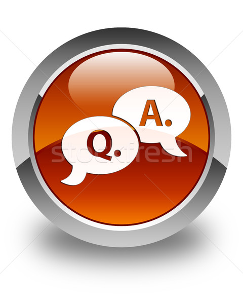 Question answer bubble icon glossy brown round button Stock photo © faysalfarhan