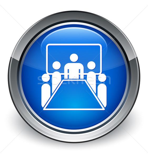 Tárgyalóterem ikon fényes kék gomb megbeszélés Stock fotó © faysalfarhan