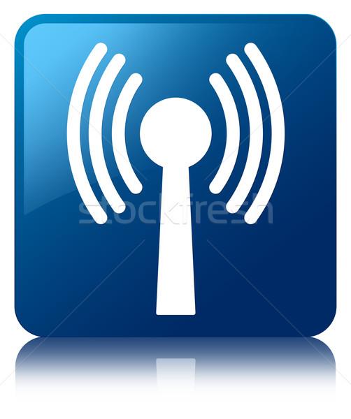 Wlan network icon glossy blue reflected square button Stock photo © faysalfarhan