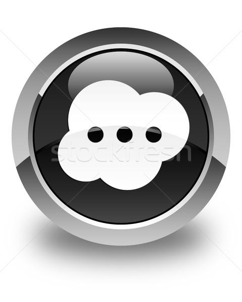 Cerveau icône noir bouton contact Photo stock © faysalfarhan