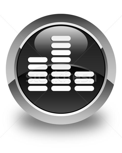 Hangszínszabályozó ikon fényes fekete gomb háló Stock fotó © faysalfarhan