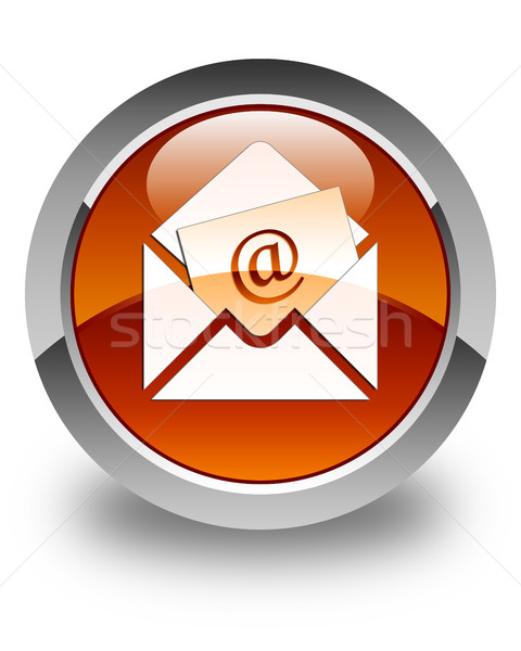Newsletter email icon glossy brown round button Stock photo © faysalfarhan