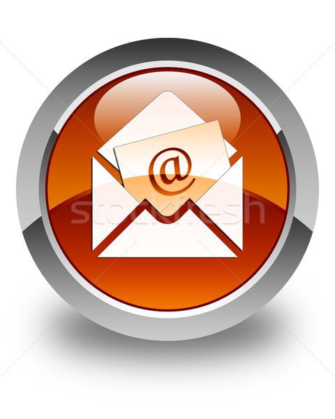 Newsletter e-mail icona lucido rosolare pulsante Foto d'archivio © faysalfarhan