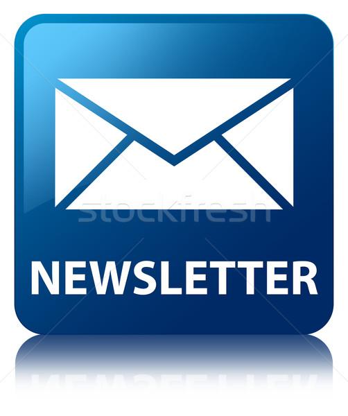 Bülteni e-mail ikon parlak mavi kare Stok fotoğraf © faysalfarhan