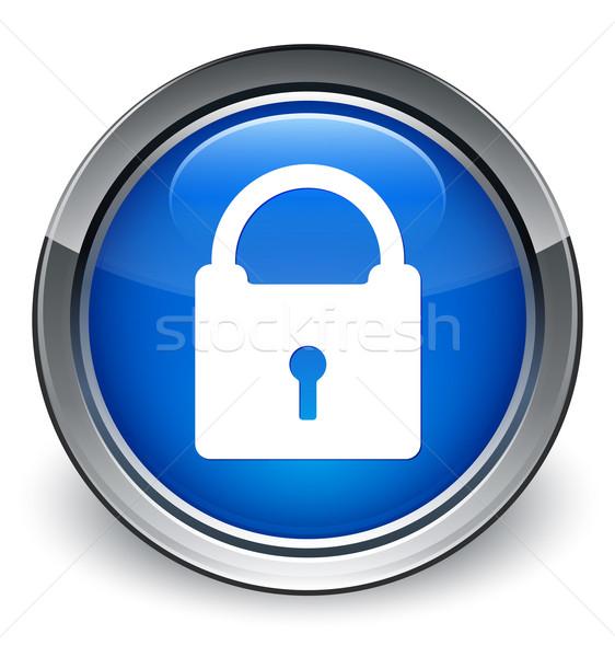 Padlock icon glossy blue button Stock photo © faysalfarhan